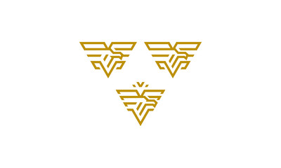 abstract eagle line art logo icon vector