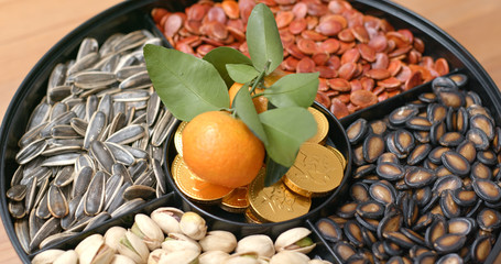 Snack box for lunar new year, chocolate golden coins words means blessing for good wealth