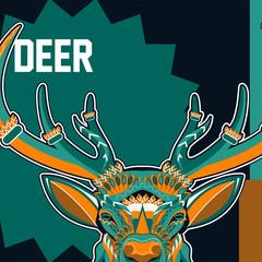 Deer head stylized in zentangle style