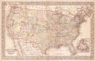 Fototapete - Old Map of the United States, 1867, Mitchell