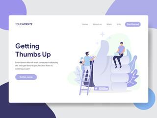 Landing page template of Thumbs Up Illustration Concept. Modern flat design concept of web page design for website and mobile website.Vector illustration