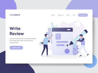 Landing page template of Write Review Illustration Concept. Modern flat design concept of web page design for website and mobile website.Vector illustration