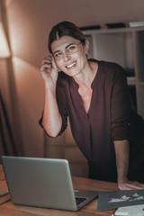 Happy female freelancer proposing idea
