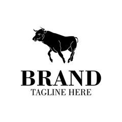 running black bulls logo icon vector illustration