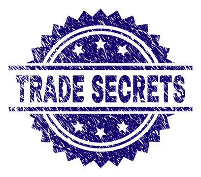 TRADE SECRETS stamp seal watermark with distress style. Blue vector rubber print of TRADE SECRETS tag with unclean texture.