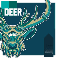 Vector color illustration of sitting deer - Vector