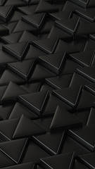 Black triangles. Puzzle. Smartphone desktop wallpaper. Art concept. 3D rendering.