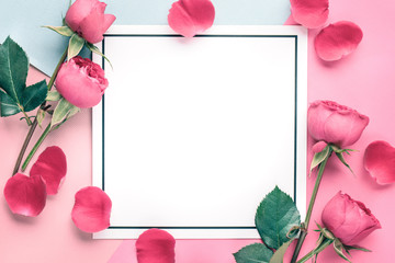 Rose petals on blank card