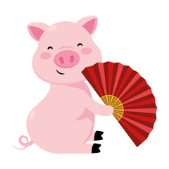 pig with chinese fan
