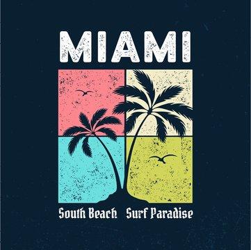 Miami - Surf Paradise / Tee Design For Printing