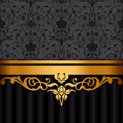 Wall Mural - Black and gold vintage background.