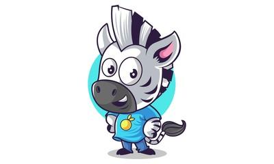 Vector cartoon illustration of cute zebra smiling. Isolated on white background.