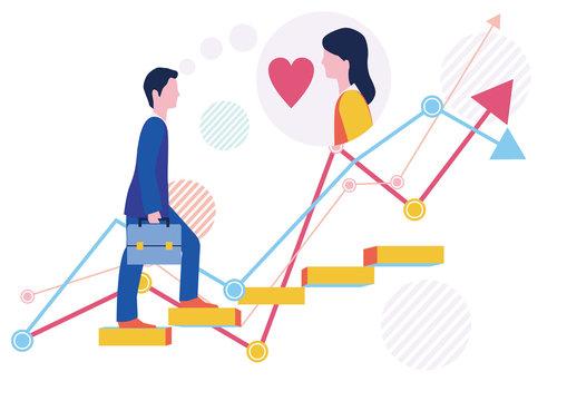 派遣社員の恋愛結婚とステップアップとグラフ-フラットデザインコンセプトイラスト