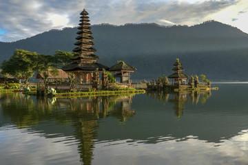 morning sunshine on pura danu bratan temple in bali, indonesia
