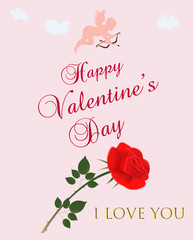 Vector Happy Valentine's Day Greeting with an Angel and a Rose