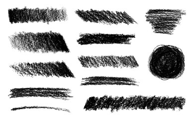 Collection of different charcoal hatches. Vector isolated scetches. Pencil scribble texture.