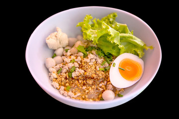 Fish ball noodles with vermicelli and boiled eggs