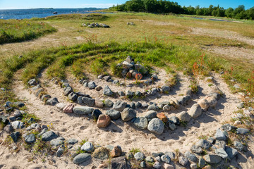 Labyrinths on the Big Solovetsky Island on the Labyrinth Cape. Solovki, Karelia, Russia