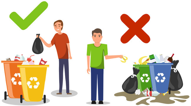 Person disposed improperly throwing away garbage on the floor. Correct and wrong behavior of littering waste.Littering garbage. Littering trash. Rubbish on the ground. Vector illustration.