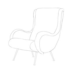isolated, furniture armchair sketch