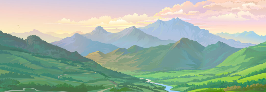 Realistic vector image of the mountain landscape and a river across the green fields.