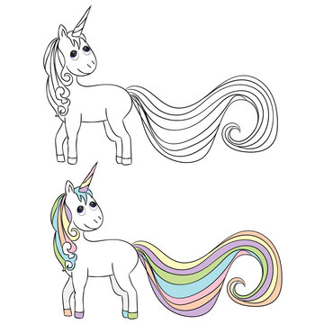 vector, isolated unicorn character, book coloring pages