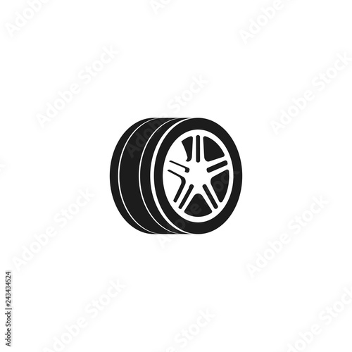 Wheel Car Vector Icon Isolated On White Background Tire Icon Black