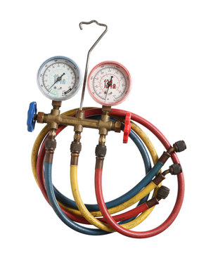 Refrigerant pressure gauges isolated on white background
