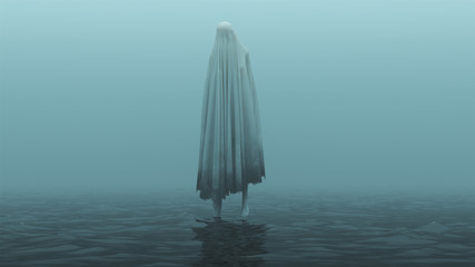 Floating Evil Spirit Over Water on a Foggy Day 3d Illustration 3d Rendering Wall mural