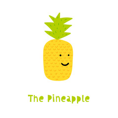 Pineapple Character in Trendy Childish Style