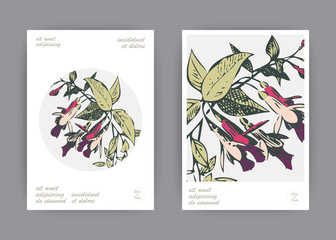 Botanical wedding invitation card template design, hand drawn fuchsia pink flowers and leaves with circle frame