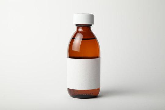 Medical glass bottle mockup. Template, empty label.