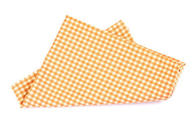 orange brown checkered napkin table clothes  on white background.