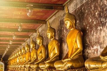 Golden Buddha Statue of Wat Suthat Devaravaram temple landmark of Bangkok, Thailand