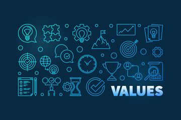 Values blue horizontal thin line banner or illustration on dark background