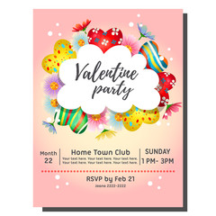 colorful valentine party invitation card with heart candy