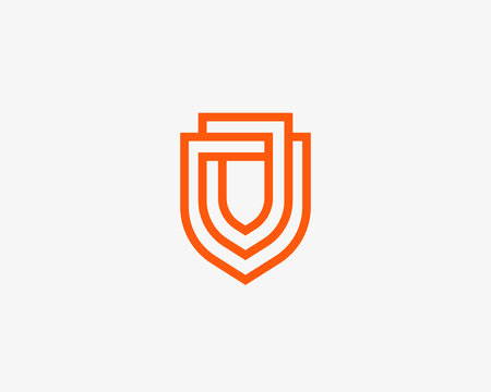 Linear shield vector logo. Line protection security guard logotype