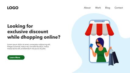 Online shopping business websites. Modern web landing pages. light color