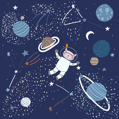 Childish Pattern with a Cat in Space Elements