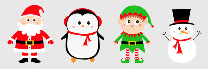 Snowman Santa Claus Elf Penguin set. Happy New Year. Merry Christmas. Red green black hat. Cute cartoon funny kawaii baby character. Greeting card. Flat design. Gray background.
