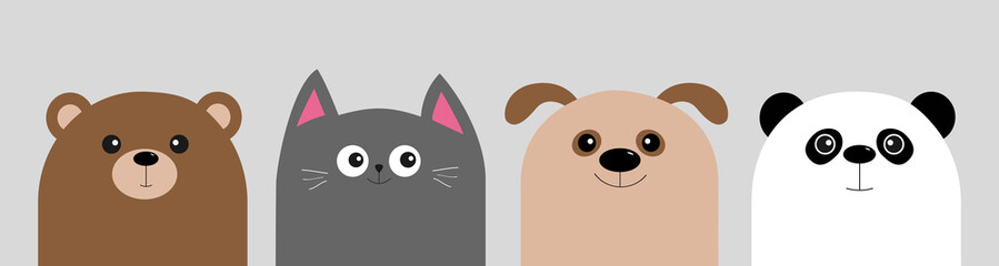 Cartoon kawaii baby bear, cat, dog, panda. Animal head face body icon set. Cute cartoon kawaii character. Flat design. Isolated. Gray background.