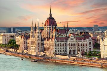 Aluminium Prints Budapest Beautiful building of Parliament in Budapest, popular travel destination