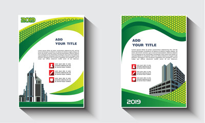 green cover abstract modern cover book Brochure template.