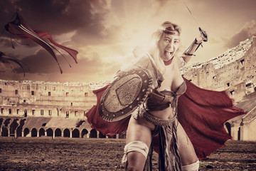 woman gladiator in the arena
