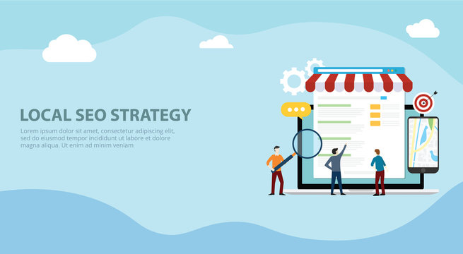 local seo market strategy business search engine optimization website design landing page ui with team people working together on front of store and maps online - vector