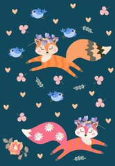Endless pattern with cute dreamy foxes playing among flowers and leaves. Little funny blue birds. Vector illustration for children.