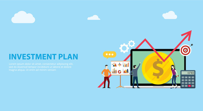 business plan investment with team working together people with money and growing growth chart arrow free space for text website landing ui design - vector