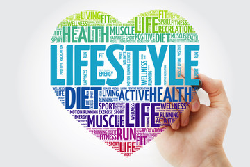 LIFESTYLE heart word cloud with marker, fitness, sport, health concept