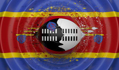 Swaziland, soccer ball on a wavy background, complementing the composition in the form of a flag, 3d illustration
