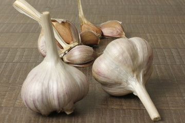 garlic on wooden table background